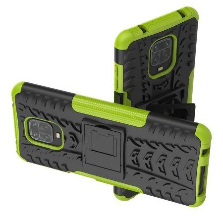 Защитный усиленный гибридный чехол противоударный с подставкой для Xiaomi Redmi Note 9 Pro Зеленый