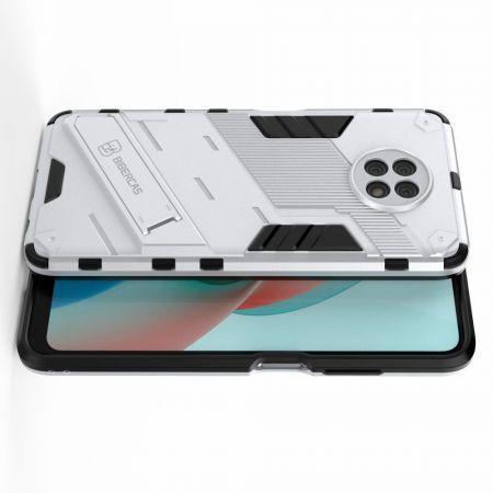 Защитный усиленный гибридный чехол противоударный с подставкой для Xiaomi Redmi Note 9T Белый