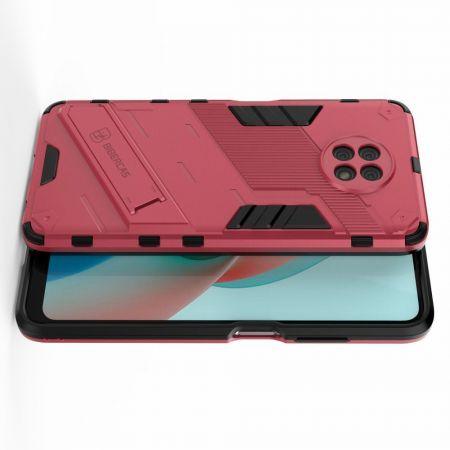 Защитный усиленный гибридный чехол противоударный с подставкой для Xiaomi Redmi Note 9T Розовый