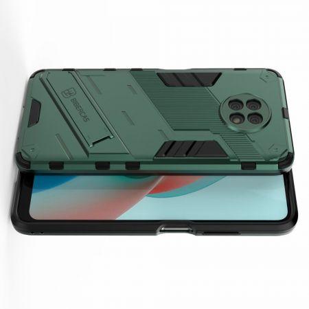 Защитный усиленный гибридный чехол противоударный с подставкой для Xiaomi Redmi Note 9T Зеленый